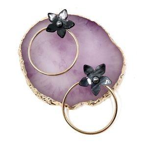 SUGARFIX: Flower Stud Hoop Earrings